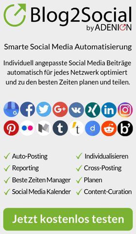 Mit dem WordPress Plugin Blog2Social verteilen Sie Ihre Blogbeiträge auf Ihren Social Media-Profilen