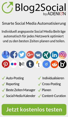 Mit dem WordPress Plugin Blog2Social verteilen Sie Ihre Blogbeiträge auf Ihren Social Media-Profilen