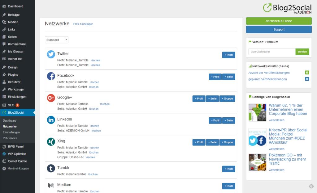Blog2Social Dashboard