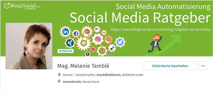 XING-Profil Melanie Tamble