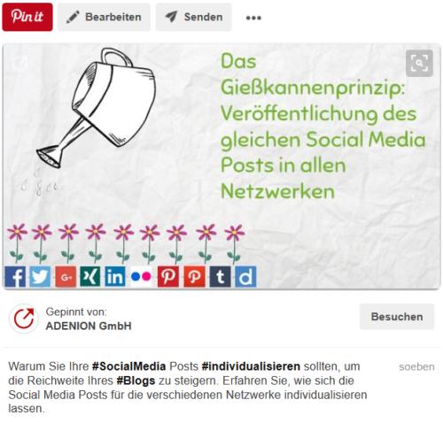 Social Media Posts individualisieren – Beispiel Bilder-Netzwerk Pinterest