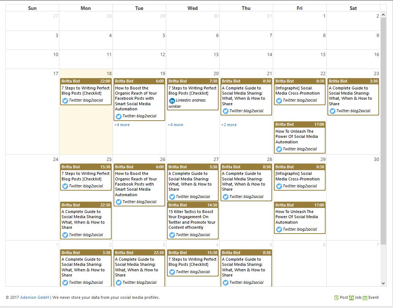 Social Media Planung mit dem Drag & Drop Kalender