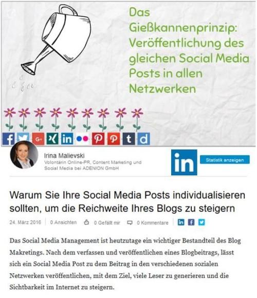 Social Media Posts individualisieren – Beispiel Business-Netzwerk LinkedIn