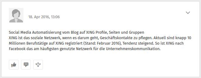 Posting auf dem XING-Profil