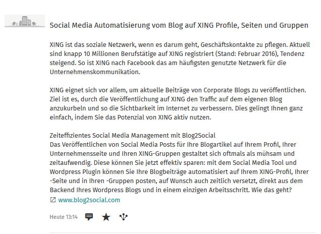 Posting auf dem XING-Unternehmensprofil
