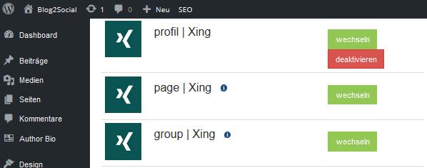 Blog2Social mit dem XING-Profil, mit der -Unternehmensseite und mit -Gruppen verbinden