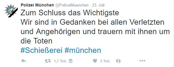 Polizei München Tweet mit Trauerflor