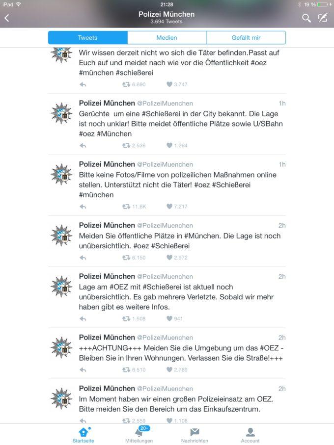 Krisen-PR der Polizei München über Twitter