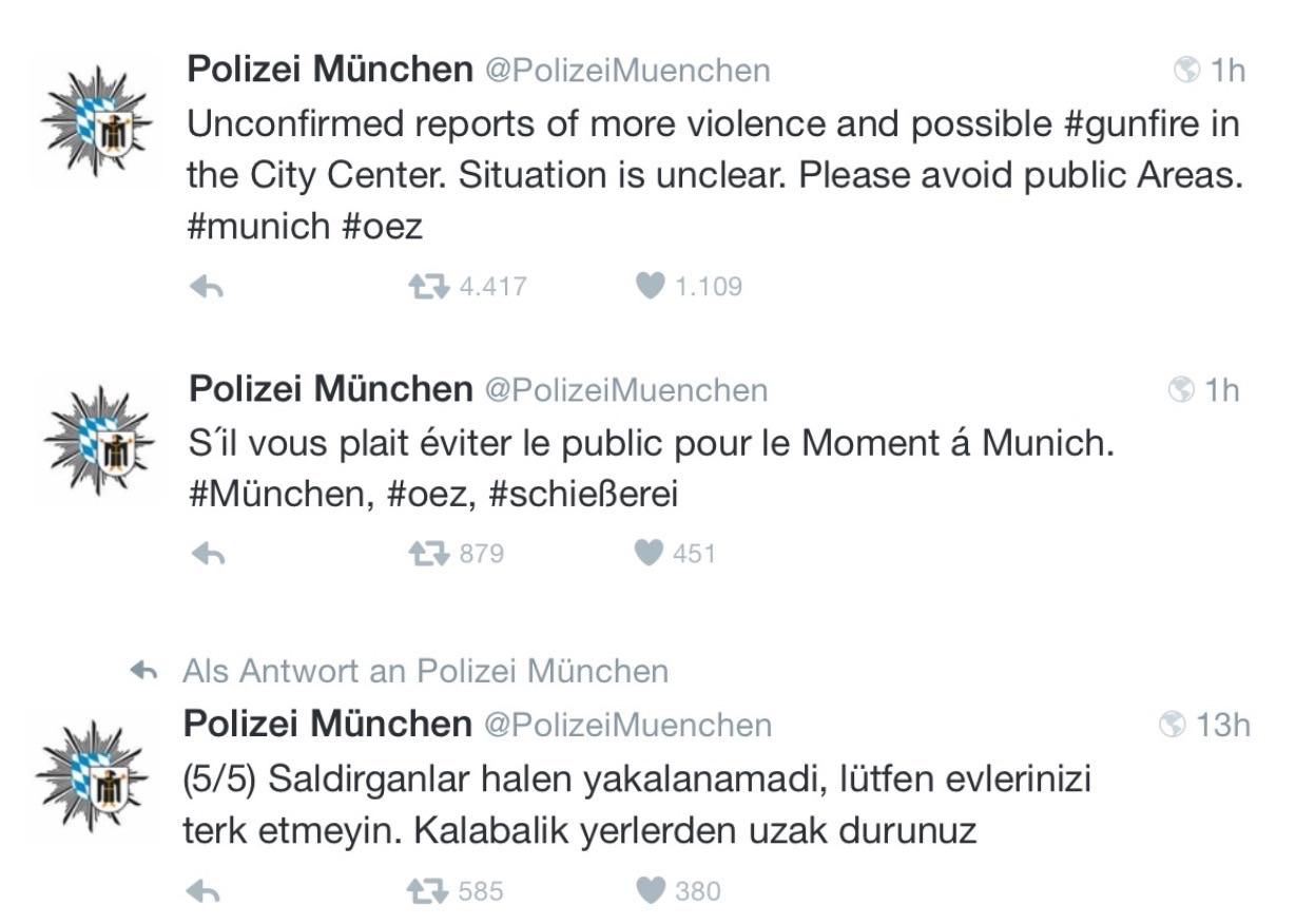 Internationale Tweets der Polizei München zur Krisen-PR