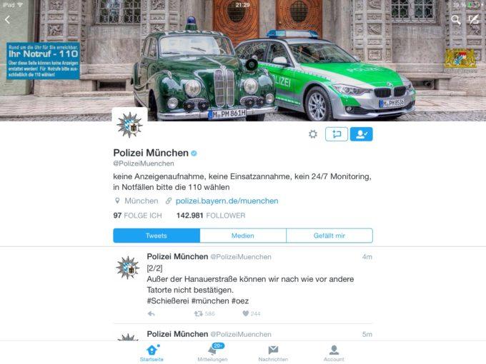 Krisen-PR der Polizei München über Facebook