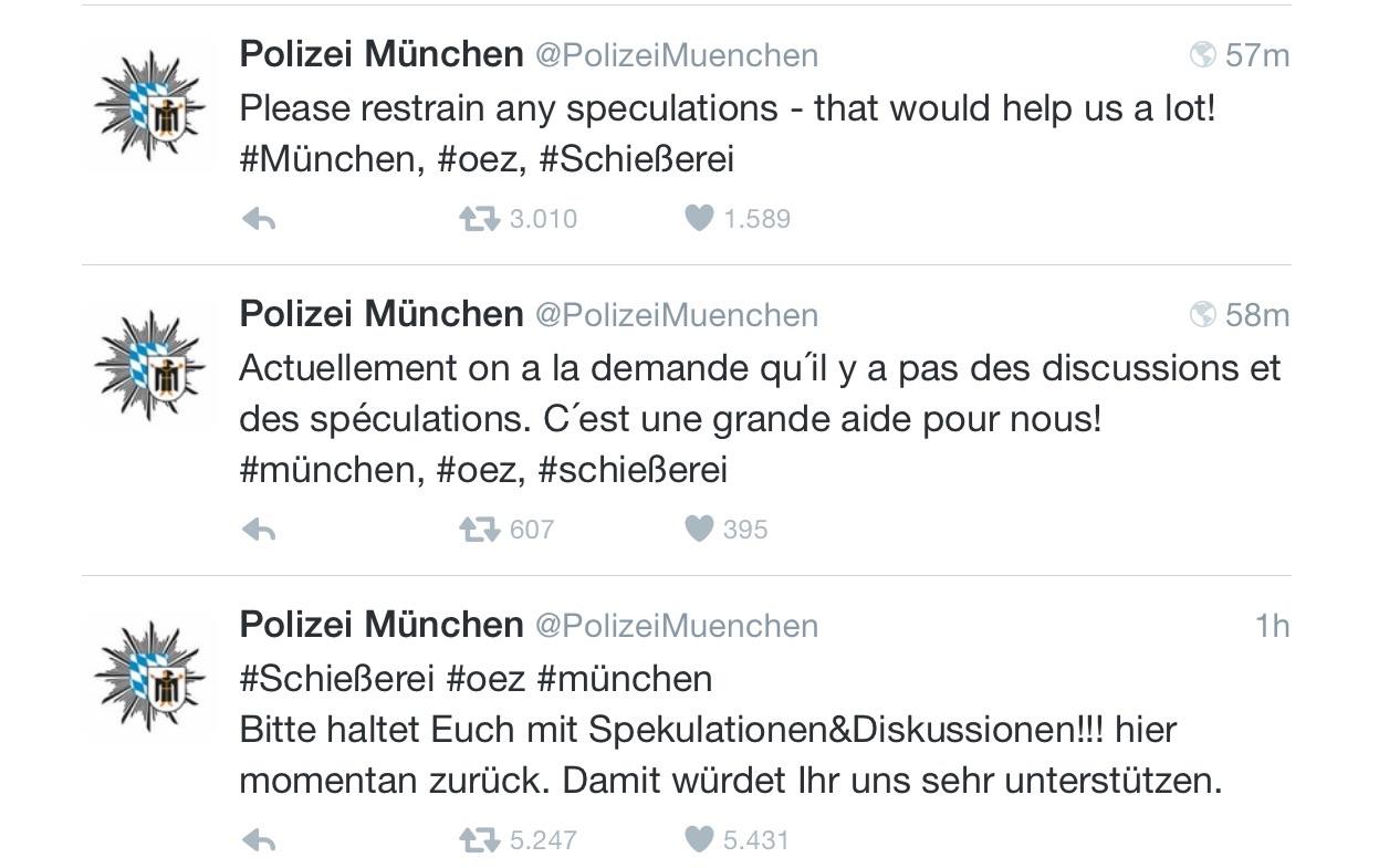 Krisen-PR der Polizei München warnt vor Spekulationen