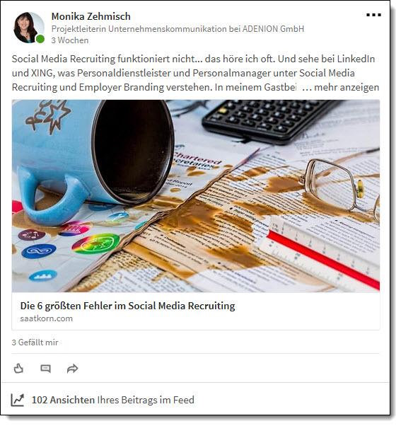 Mit Veröffentlichungen halten Sie Ihr Linkedin-Profil aktuell