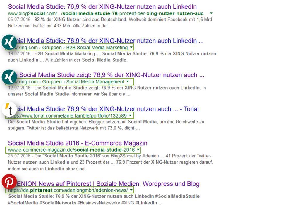 Suchergebnisse zu Blog2Social bei Google