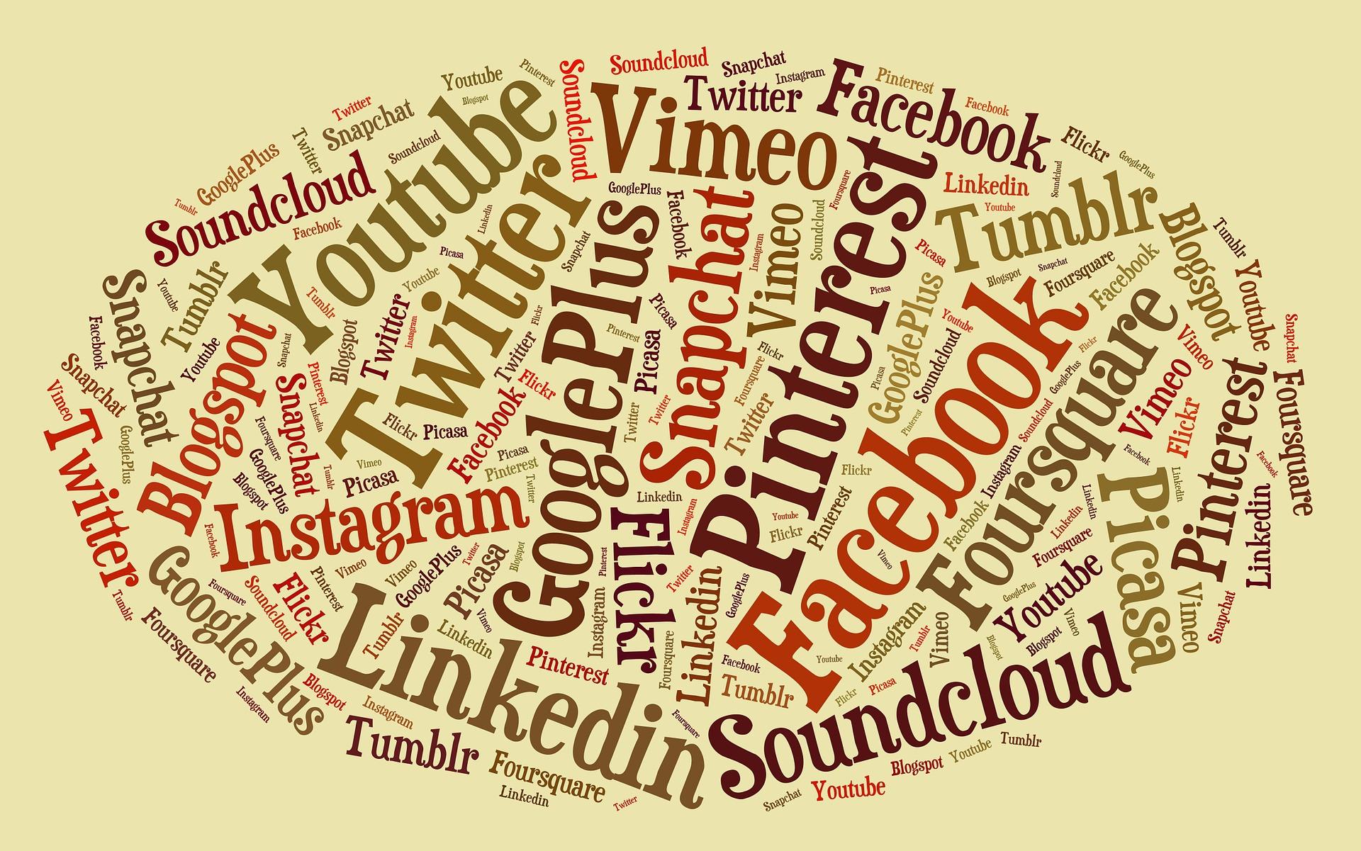 verschiedene Social Media