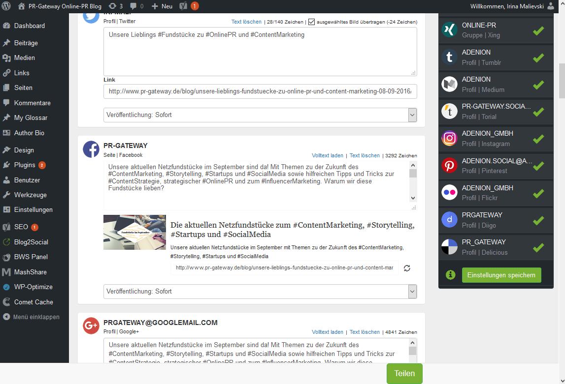 Beispiel Social Media Plugins: Mit Blog2Social Blogbeiträge individuell editieren