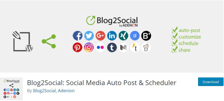 Social Media Plugins für das automatisierte Planen und Teilen: Blog2Social