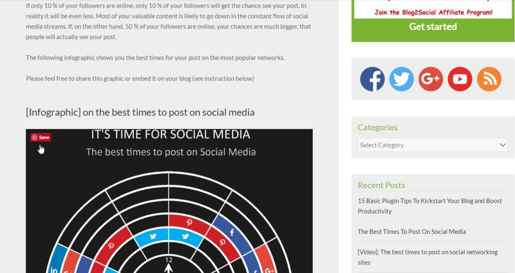 Beispiel Social Media Plugins: Pinterest Pin It Hover
