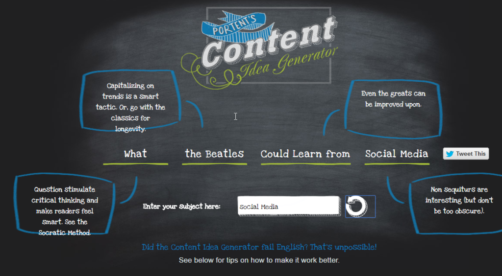 Marketing Tools für Blogger: Content Idea Generator
