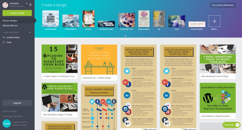 Marketing Tools für Blogger: Canva