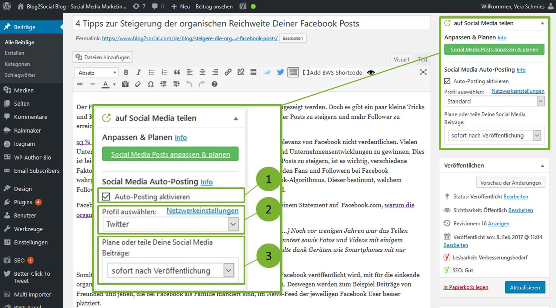 Verbinde Deinen Blog mit Facebook für das Auto-Posting und teile Deine Blogbeiträge diekt nach der Veröffentlichung auf Deinem Blog