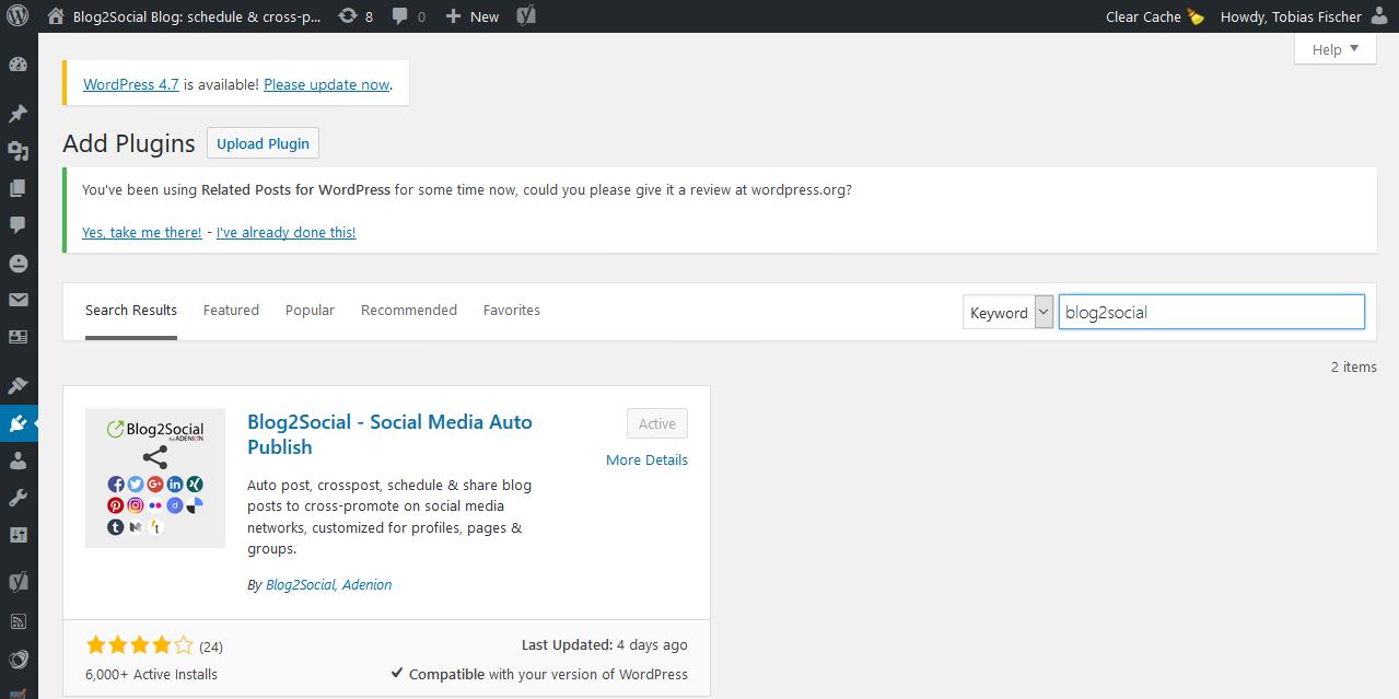 Installiere das WordPress Plugin Blog2Social und verbinde Deinen Blog mit Facebook für das Auto-Posting