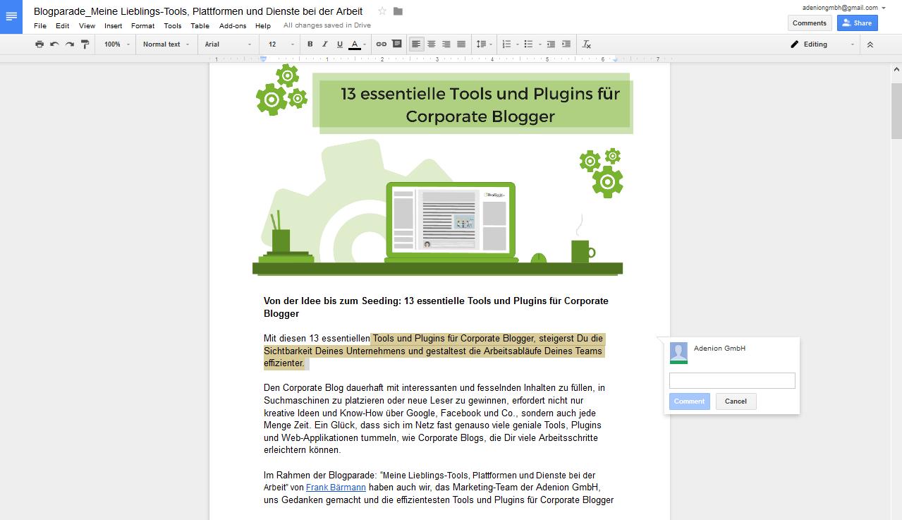 Essentielle Tools und Plugins für Corporate Blogger - Unkomplizierte Redaktion und Abstimmung mit Google Drive