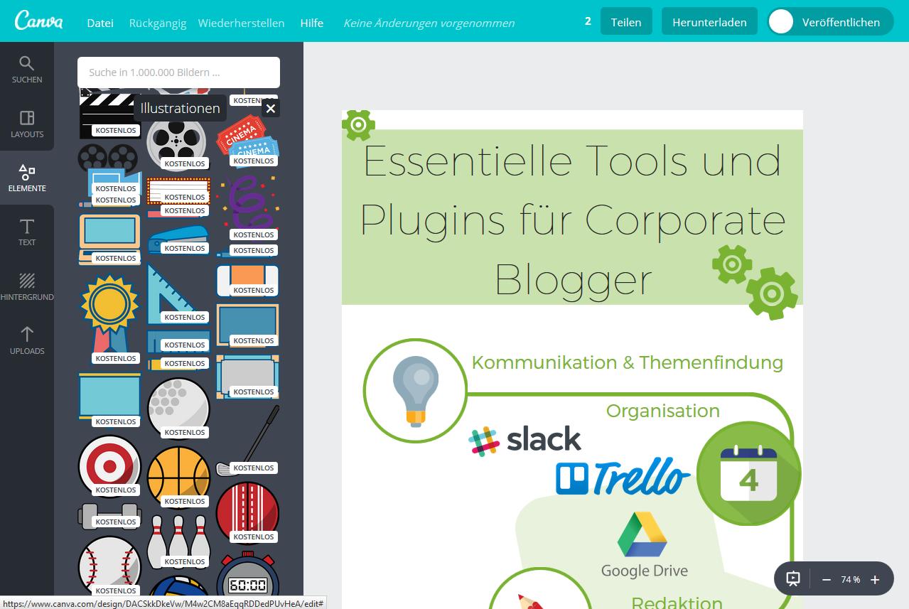 Essentielle Tools und Plugins für Corporate Blogger - Ansprechende Designs und Infografiken mit Canva