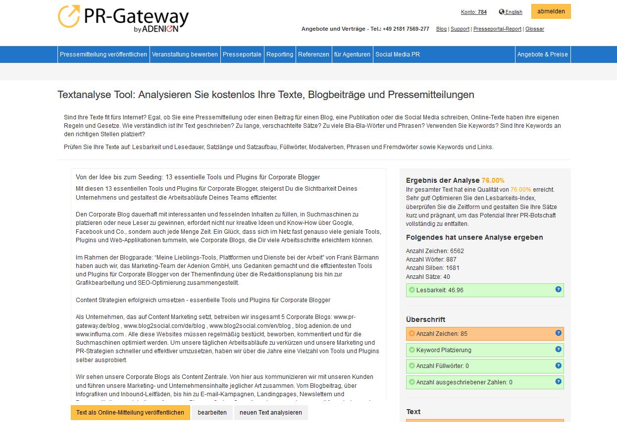 Essentielle Tools und Plugins für Corporate Blogger - Leserlich und SEO-optimiert Schreiben mit der PR-Gateway Textanalyse