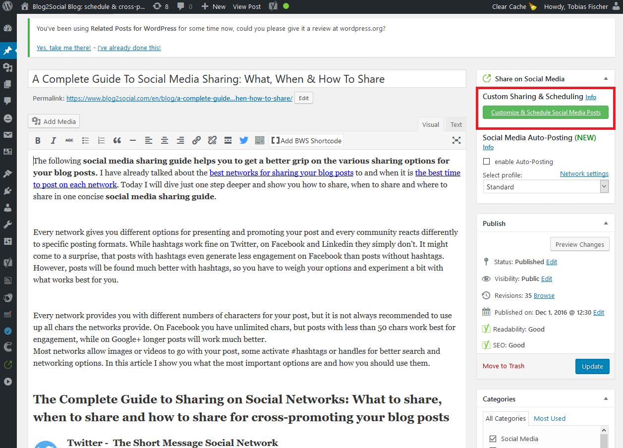 Verbinde Deinen Blog mit Facebook für das Auto-Posting und poste direkt aus Deinem WordPress Editor heraus