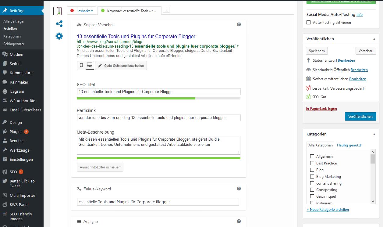 Essentielle Tools und Plugins für Corporate Blogger - Fit für die Suchmaschinen mit dem SEO-Tool Yoast