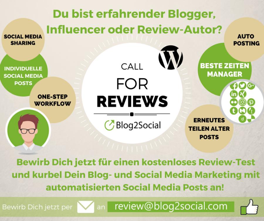 Call for Reviews: Social Media Plugin zum Planen und automatisierten Teilen von Blogbeiträgen auf Facebook, Twitter und Co.