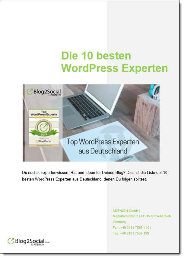 die 10 besten wordpress experten blog2social blog social media marketing f r blogs. Black Bedroom Furniture Sets. Home Design Ideas