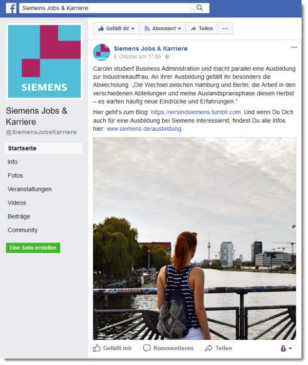 Siemens betreibt bei Facebook eine Unternehmensseite speziell für Jobs & Karriere und gewährt einen persönlichen Einblick hinter die Kulissen zum Thema Ausbildung.
