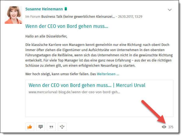 Susanne Heinemann von der internationalen Personal- und Managementberatung Mercuri Urval macht es vor, wie man mit einer Problemlösung die Zielgruppe bei XING erreichen kann. Der Post bei XING Düsseldorf, macht auf ein Problem aufmerksam und regt zum Weiterlesen auf dem Corporate Blog an.