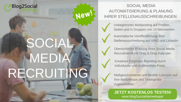 Social Media Automatisierung und -planung Ihrer Stellenangebote mit Blog2Social