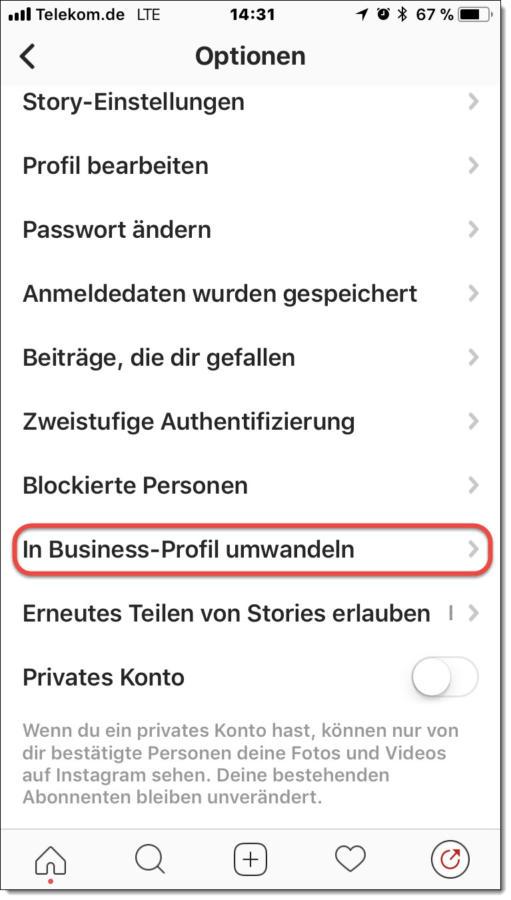 Wechsel zum Instagram Business-Profil