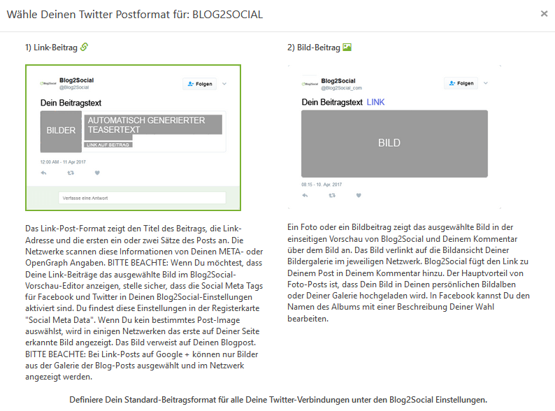 Blog2Social Twitter Post-Format_Einstellungen