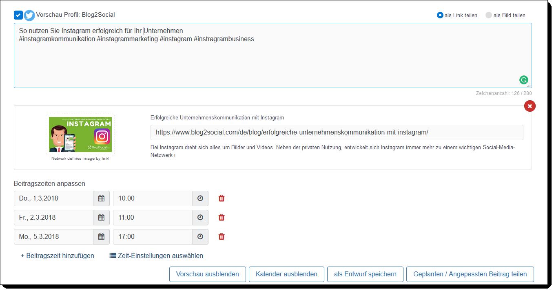 Beispiel: Automatisierte Veröffentlichungs-Planung eines Beitrags auf Twitter