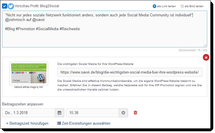 Social Media Scheduling mit der Blog2Social Webapp