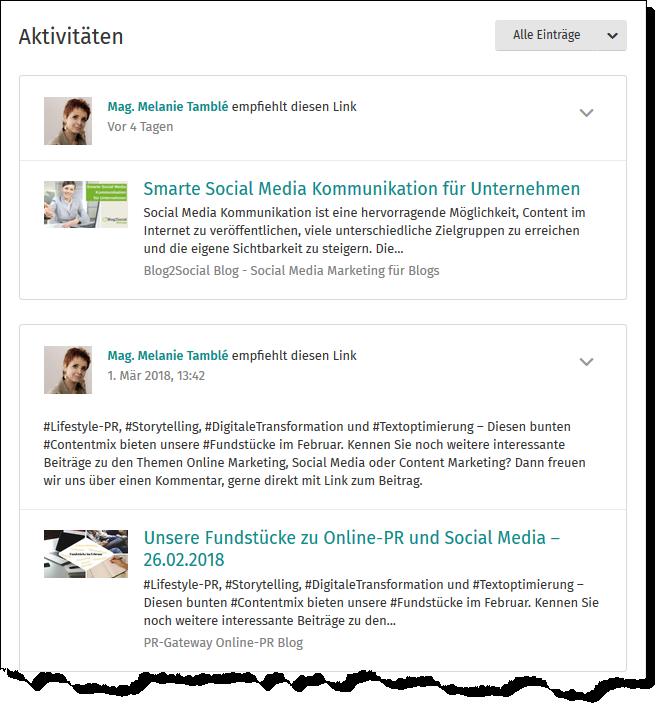 """Der """"Aktivitäten""""-Bereich auf XING zeigt den News-Stream von Business XING Influencern"""