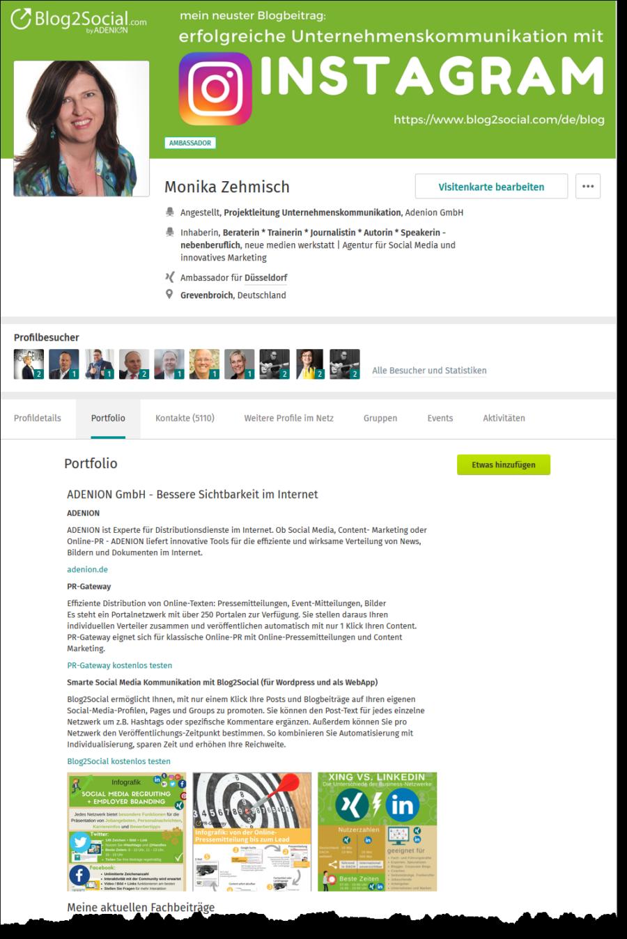 Business XING Influencer haben in Ihrem Profil oft ein Portfolio angelegt