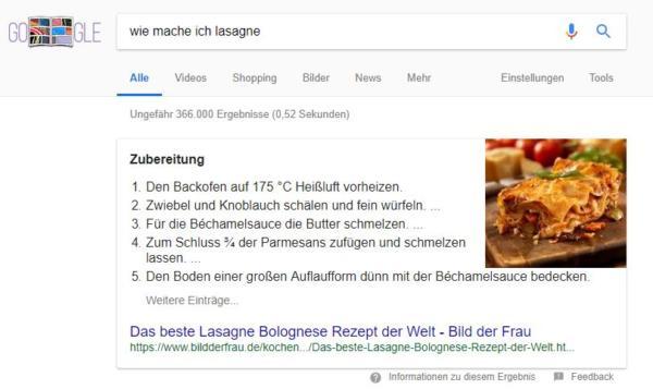 Position 0 bei Google: Die wichtigsten Fragen rund um Featured Snippets einfach erklärt. Beispiel eines Featured Snipped