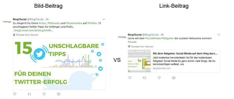 Twitter Post Formate: Link Post und Bild Post im Vergleich
