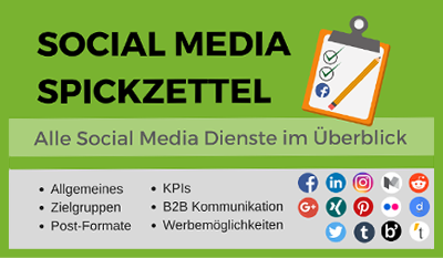Social Media Spickzettel