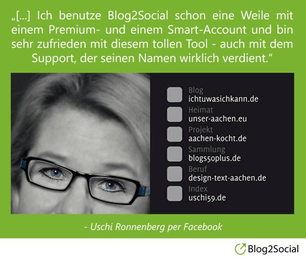 Uschi Ronnenberg über Blog2Social