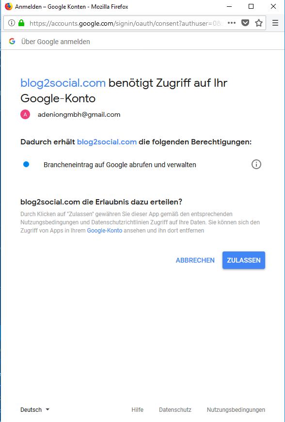 Blog2Social mit Google My Business verbinden