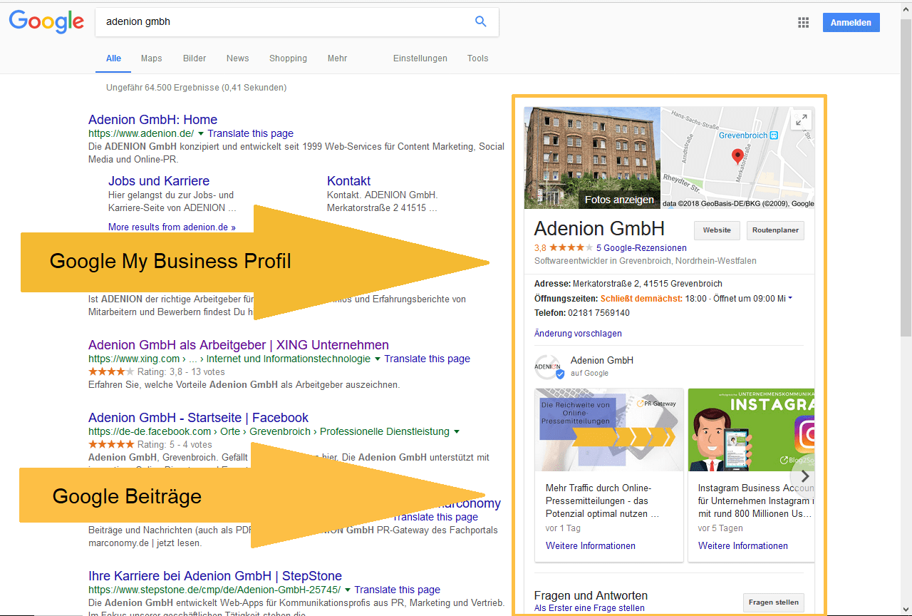 Blogbeiträge in Google My Business sichtbar machen