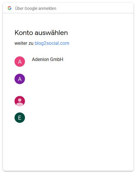 Wählen Sie das Google-Konto aus, das mit Ihrem Google Business-Brancheneintrag verknüpft ist.