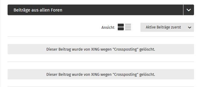 Überschreiten Sie die vorgegebene Anzahl der gleichlautenden Posts, dann werden Ihre Beiträge von XING gelöscht.
