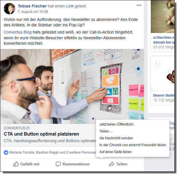 Content Curation in Facebook-Gruppen